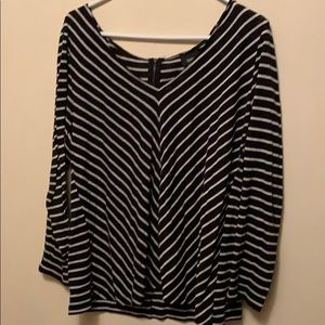 Light knit striped sweater with back zipper.